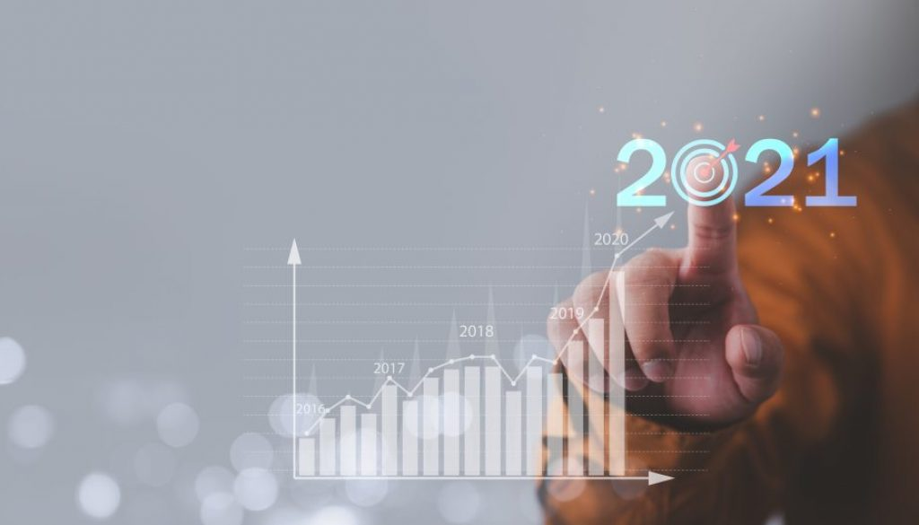 Target and goal Business analytics and financial concept, Plans to increase business growth and an increase in the indicators of positive growth in 2021